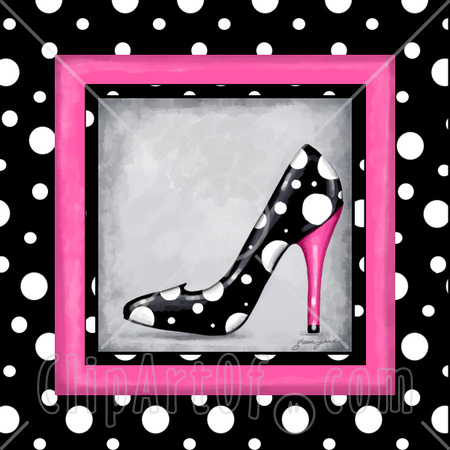 Black  White Dress Shoes on Black And White Polka Dot High Heel Shoe Bordered By Dots And Pink